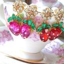 strawberry swing bijou pierce♡苺のゆらゆらビジューピアス♡
