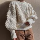 calme × Miske w name hand cable pullover knit / white