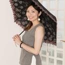 50cm綿ポリエステル混合 スカラップ刺しゅう傘 晴雨兼用 [OSI004  PU/GR/PI]
