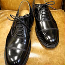 18.73 Rejected Tricker's / Black Polished Leather / Cap Toe Oxford Shoes / Leather Sole