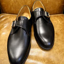 18.55 Rejected Tricker's / Black / Monk Shoes / Leather Sole / Size 6 half