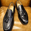 18.47 Rejected Tricker's / Black / Tassel Slip On Shoes / Leather Sole / Size 8 half