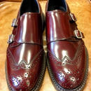17.44 Rejected Tricker's / Red Brown Polished Calf / Double Monk Shoes / Dainite W Sole / Size 9