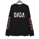 DADA Logo Rose All Embroidered Long Sleeve T-Shirt black