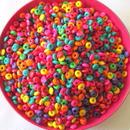 【アウトレット商品】カラフルドーナツ形のウッドビーズ 1800個セット(約6×3mm)(B051)