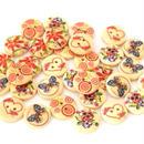 可愛い花柄・ハート・ちょうちょのウッドボタン 5種類30個セット(15mm) (052)