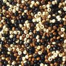 ブラック・ブラウン・ベージュ(黒・茶色・肌色)の小さいウッドビーズ 2500個セット(約4mm×3mm) (SB344)