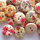 可愛い花柄のウッドボタン(1) 30個セット (15mm) (012)