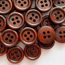 ウッドボタン ブラウン (15mm)50個セット  (S018)