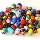 【アウトレット商品】カラフル模様のガラスビーズ(シェブロン/とんぼ玉)50個セット(約8mm~15mm)(B421)