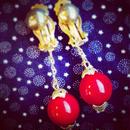 Vintage Earring ゆらゆら赤玉