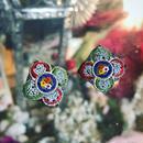 Vintage earring / micro  mosaic「菱正方形(中) 四花弁の花紋」