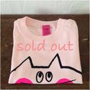▲送料無料 70サイズ/半そで ねこもぐらさんTシャツB uyoga cat mole ライトピンク