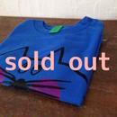 ▲送料無料 80サイズ/半そで ねこもぐらさんTシャツ uyoga cat mole ロイヤルブルー