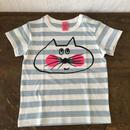 ▲送料無料 90サイズ/半そで ねこもぐらさんしましまTシャツE オーガニックコットン uyoga cat mole ライトブルー×ホワイト ボーダー ほっぺあり 1018番目のねこもぐらさん