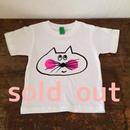 ▲送料無料 100サイズ/半そで ねこもぐらさんTシャツ 6.2oz uyoga cat mole ホワイト ほっぺあり 493番目のねこもぐらさん