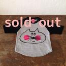 ▲送料無料 80サイズ/ラグラン七分そで ねこもぐらさんTシャツB uyoga cat mole グレー×ブラック