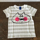 ▲送料無料 80サイズ/半そで ねこもぐらさんしましまTシャツE オーガニックコットン uyoga cat mole ライトグレー×ホワイト ボーダー ほっぺあり 1013番目のねこもぐらさん