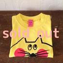 ▲送料無料 90サイズ/半そで ねこもぐらさんTシャツ uyoga cat mole イエロー