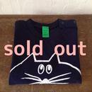 ▲送料無料 90サイズ/半そで ねこもぐらさんTシャツ 6.2oz uyoga cat mole ネイビー 413番目のねこもぐらさん