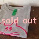 ▲送料無料 100サイズ/半そで ねこもぐらさんTシャツ 6.2oz uyoga cat mole ミックスグレー ほっぺなし
