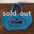 ▲送料無料 Sサイズ/キャンバス生地 ねこもぐらさん トートバッグ uyoga cat mole ターコイズブルー 525番目のねこもぐらさん