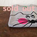 ▲送料無料 130サイズ/半そで ねこもぐらさんTシャツ 6.2oz uyoga cat mole ミックスグレー ほっぺあり 576番目のねこもぐらさん