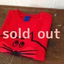 ▲送料無料 80サイズ/半そで ねこもぐらさんTシャツ uyoga cat mole レッド