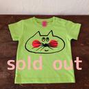 ▲送料無料 80サイズ/半そで ねこもぐらさんTシャツ uyoga cat mole ライムグリーン