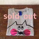 ▲送料無料 90サイズ/半そで ねこもぐらさんTシャツ uyoga cat mole ミックスグレー ほっぺあり