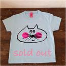 ▲送料無料 90サイズ/半そで ねこもぐらさんTシャツB 5.6oz uyoga cat mole ライトブルー ほっぺあり 561番目のねこもぐらさん
