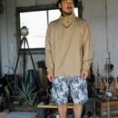 Monitaly, Drop Crotch Shorts, Cotton Print Floral Turq