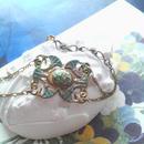 ヴィンテージ 朝顔green/Blue 蝶のようなブレスレット