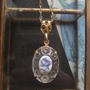 ヴィンテージ Blue薔薇/Clear装飾Glass ネックレス(Goldカラー)