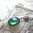 ヴィンテージ Green/Blueドラゴンズブレス 金古美ネックレス