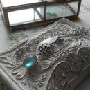 アンティークサフィレット(約12×10ミリ)Silver925Flowerネックレス