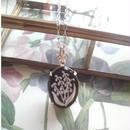 ヴィンテージ Black/すずらん(18×13ミリ)silverネックレス
