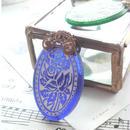 ヴィンテージ Blue/White薔薇 フィリグリー ネックレス