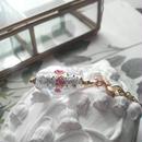 ヴィンテージ 薔薇Lampwork/Silver-clear ロングネックレス