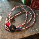 Vintage Metal Button Bracelet/Necklace, WHT/RED