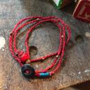 Vintage Metal Button Bracelet/Necklace, Red