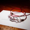 クリスタル レッドサテンコードネックレス 真鍮パーツ