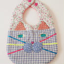 CAT BIB (S) / green flower×blue gingham check