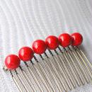 艶赤のシンプルな玉コーム(大6玉)