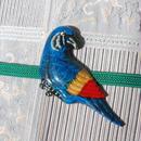 南国の鳥の帯留(青)