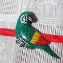 南国の鳥の帯留(緑)