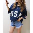 USAハーフZIP BIG Tシャツ【NAVY】