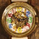 自動巻式 スケルトン 機械式腕時計 float see through 数字マルチカラー 文字盤ホワイト 真鍮 オートマ