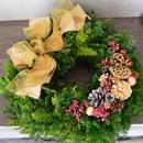 杉とヒバのクリスマスリース 「ダブルゴールドリボン」
