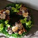 杉とヒバのクリスマスリース 「ライトグリーンリボン」
